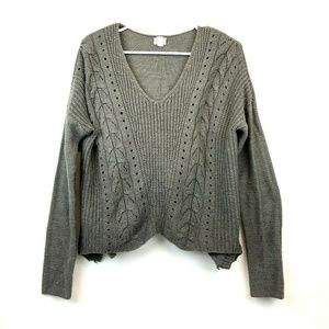 Converse One Star V-Neck Cropped Sweater Large